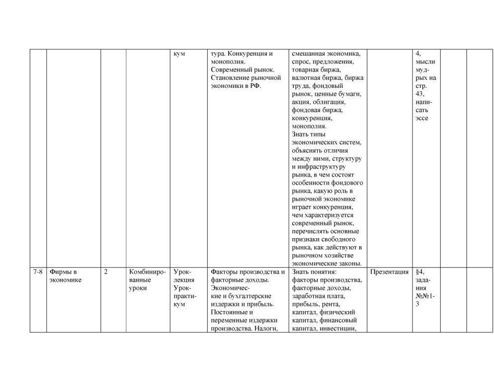 Тематическое планирование по обществознанию 10 класс боголюбов 1 час