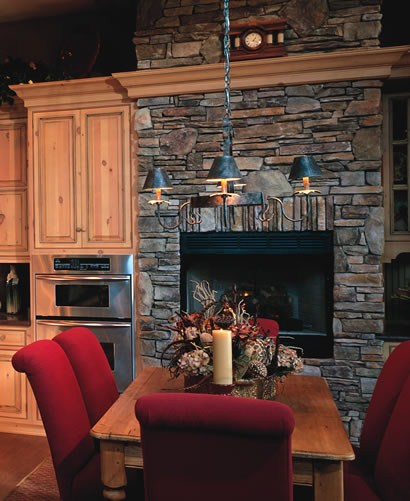 Bucks county stone fireplace